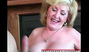 Cute blond excited granny