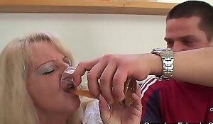 Hot threesome party with sexy blonde grandma