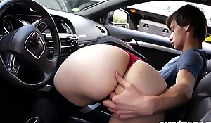 Horny rich granny abuses young sausage after a long drive