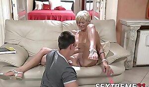 Scalding granny enjoys riding and sucking big juvenile detect
