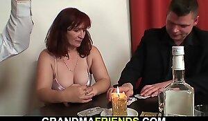 Sexy grandma DP after belt poker