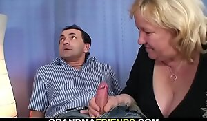 Uncompromisingly old busty blonde grandma swallows a handful of dicks