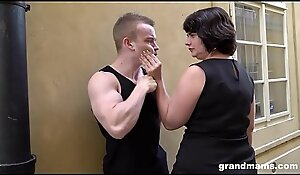 Fat mature wife pays young pal 50 Euros for a blowjob