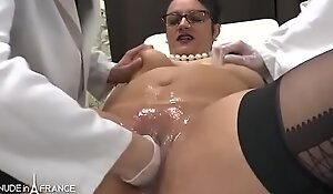 Unskilled BBW french milf fisted analyzed with an increment of facialized nearby 3way winning gyneco
