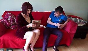 Mature obese Christina plus Sam Bourne together
