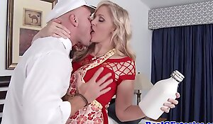 Mature blonde housewife titfucks slay rub elbows with milkman