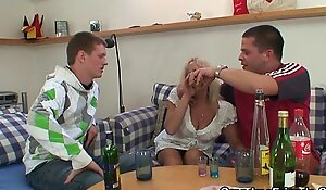 Blonde granny in hot threesome orgy