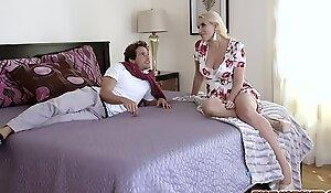 Stepson fucks his stepmoms big titties and fucks her face too befrore slamming her milf pussy