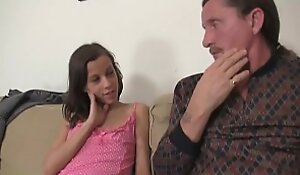 Microscopic girl seduces old dad to swept off one's limbs the brush youthful cunt