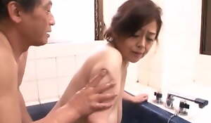 Japanese Granny near bottomless gulf hanging saggers, amateur, censored