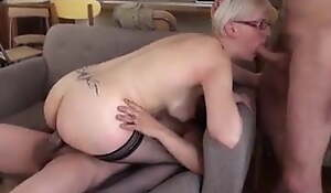 French MILF in stockings and glasses receives Double penetration