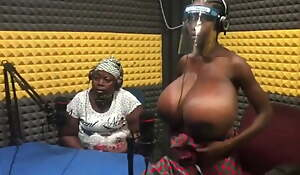 African mum showing her daughter's gigantic tits