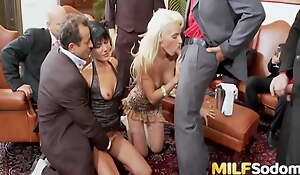 Duo Sex-mad MILFs Get All Their Holes Filled in a Double penetration Gangbang