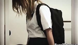 Sexy schoolgirl fucked wits stepbro