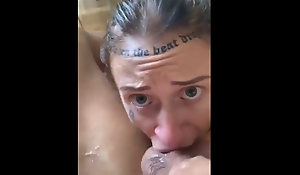 Tattoo amateur sloppy gagging and deepthroat blowjob