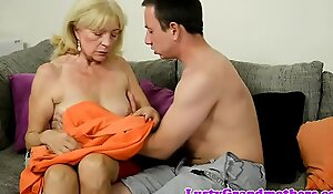 Foreplay loving grandma rides junior cock