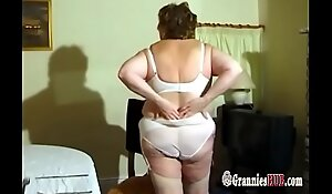Lovely BBW Granny With Huge Tits Striptease And Masturbation