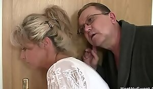 Horny materfamilias coupled with daddy bonks their son's GF
