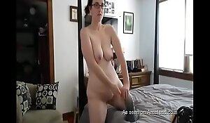 Caught Jocular mater Masturbating on the big bed
