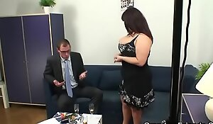 Full-grown fatty receives nailed by two dicks