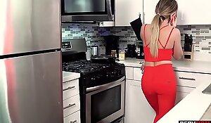 My horny stepmom MILF Linzee Ryder kitchen blowjob