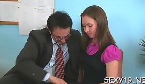 Mature teacher is taking advantage of virginal gal