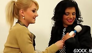 Mature lesbian gets her sweet snatch toyed with a big vibrator