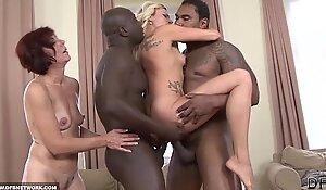Black fellows fuck white hotties deepthroat drink cum hardcore interracial group sex