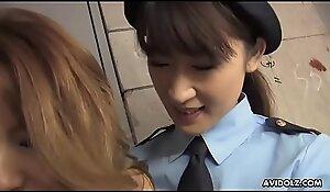 Lesbian police officer licks and toys Japanese hottie Momomi Sawajiri