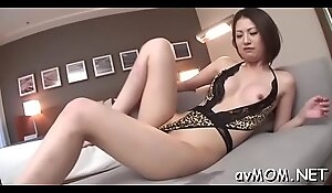 Lewd mom with perky tits takes large cock in mouth and eats cum