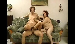 2 grandmas treasure in the neighbourhood snatch an besides be fitting of his cock.