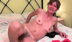 Hairy granny acquires her saggy meatballs and furry gap caressed