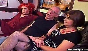 Girth redhead younger crossdresser sucking old mans cock