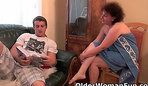 Heavy granny gets screwed on transmitted to sofa