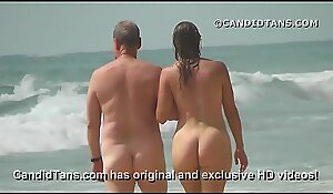 Sexy Mummy mom with a big ass walking naked on public beach!