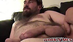 Mature dude with beard has solo masturbation session