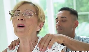 Kinky Old Chubby GILF Malya has a lucky day, gets to hop on a young dong